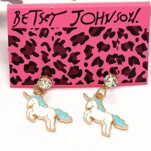 NWT•Betsey crystal post unicorn dangle earrings